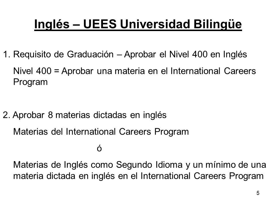 5 Inglés – UEES Universidad Bilingüe 1.Requisito de Graduación – Aprobar el Nivel 400 en Inglés Nivel 400 = Aprobar una materia en el International Careers Program 2.