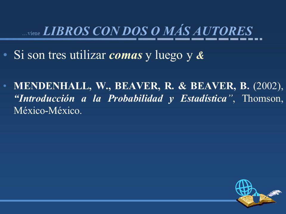 …viene LIBROS CON DOS O MÁS AUTORES Si son tres utilizar comas y luego y & MENDENHALL, W., BEAVER, R.