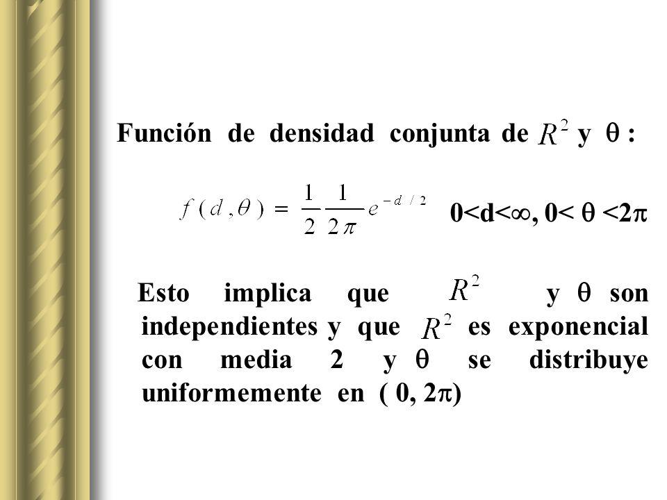 Función de densidad conjunta de y : 0<d<, 0< <2 Esto implica que y son independientes y que es exponencial con media 2 y se distribuye uniformemente e
