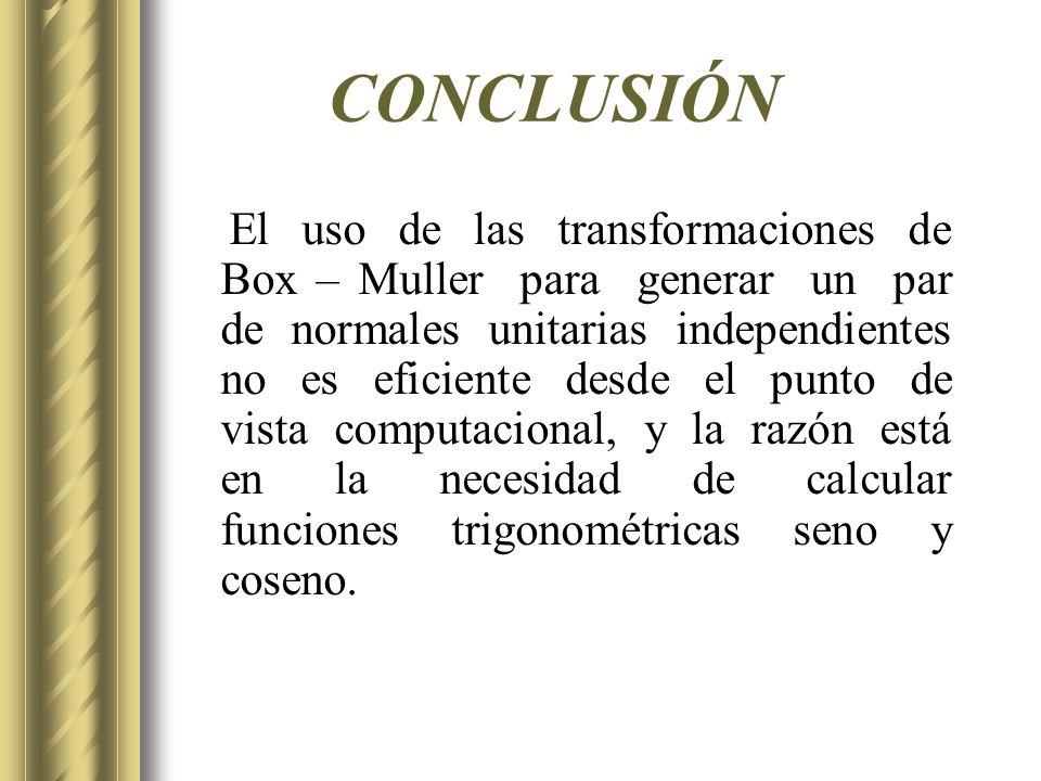 CONCLUSIÓN El uso de las transformaciones de Box – Muller para generar un par de normales unitarias independientes no es eficiente desde el punto de v