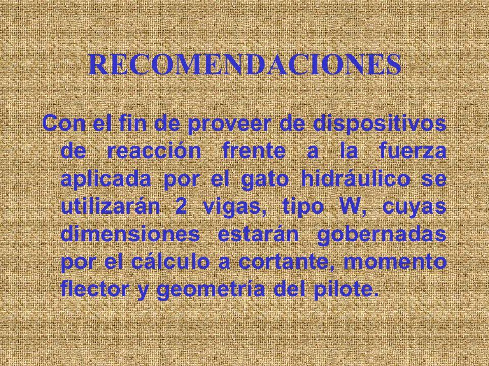 RECOMENDACIONES · Se coloca un pilote, a modo de cama o banco de reacción (puede ser de sección 45 x 45 cm, por ejemplo), totalmente apoyado sobre el