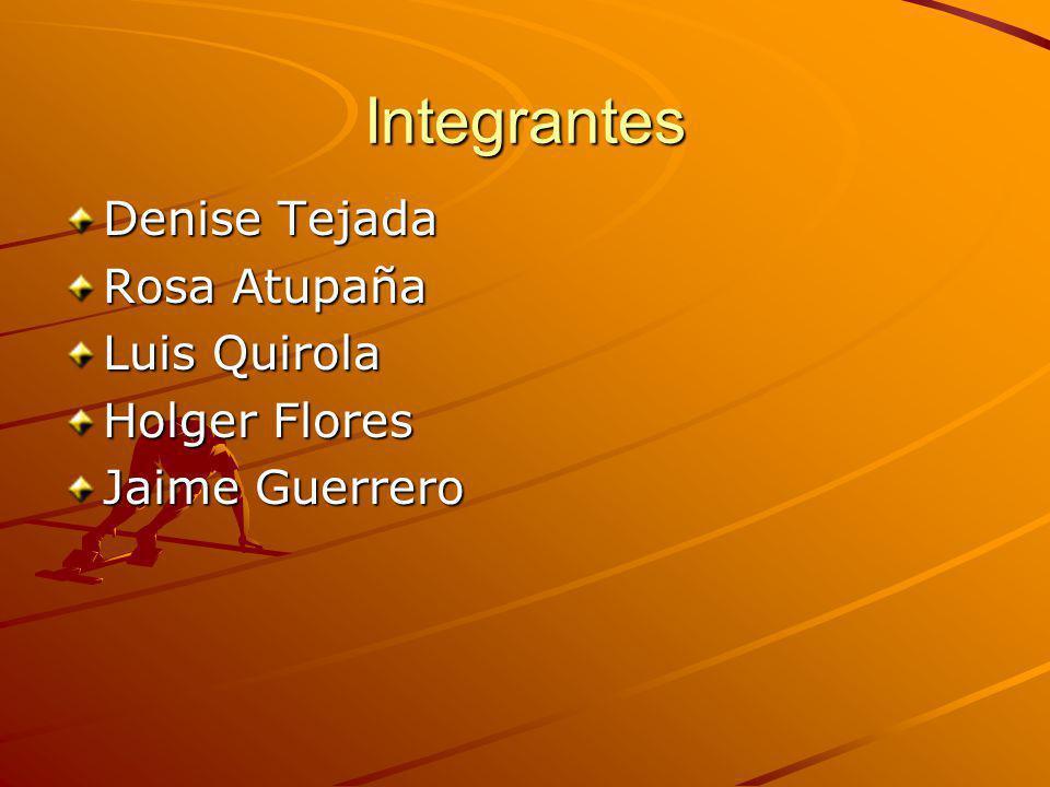 Integrantes Denise Tejada Rosa Atupaña Luis Quirola Holger Flores Jaime Guerrero