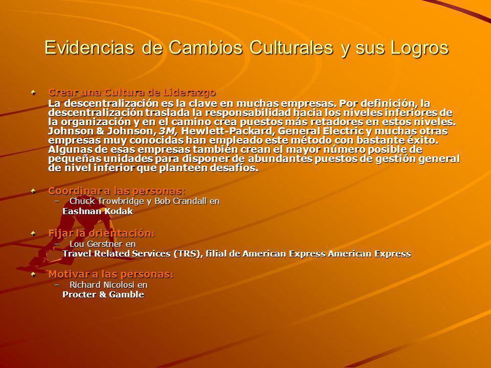 Evidencias de Cambios Culturales y sus Logros Crear una Cultura de Liderazgo La descentralización es la clave en muchas empresas.