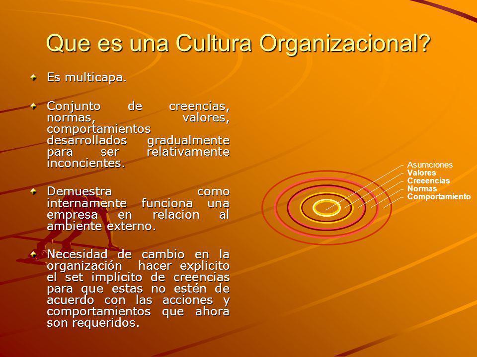 Que es una Cultura Organizacional.Es multicapa.