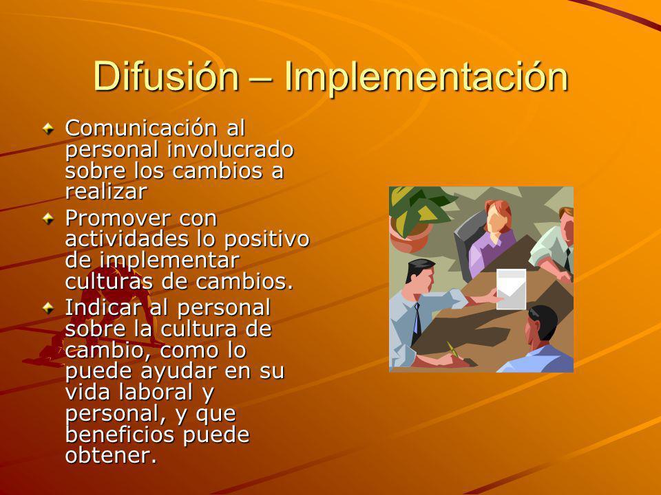 Difusión – Implementación Comunicación al personal involucrado sobre los cambios a realizar Promover con actividades lo positivo de implementar culturas de cambios.