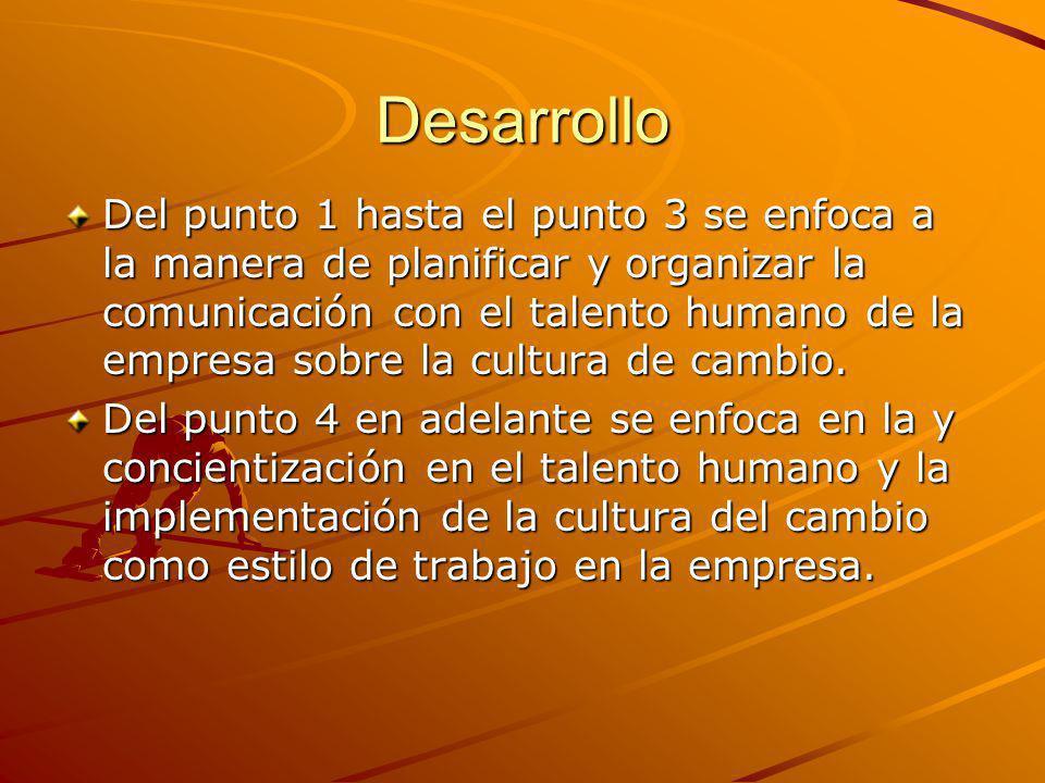 Desarrollo Del punto 1 hasta el punto 3 se enfoca a la manera de planificar y organizar la comunicación con el talento humano de la empresa sobre la cultura de cambio.
