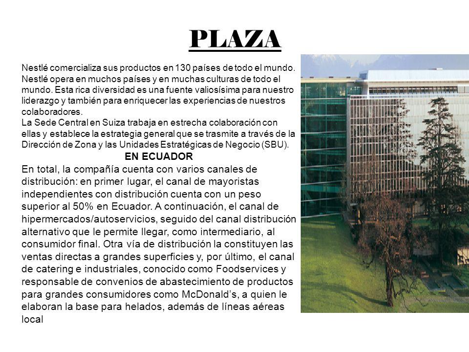 PLAZA Nestlé comercializa sus productos en 130 países de todo el mundo. Nestlé opera en muchos países y en muchas culturas de todo el mundo. Esta rica
