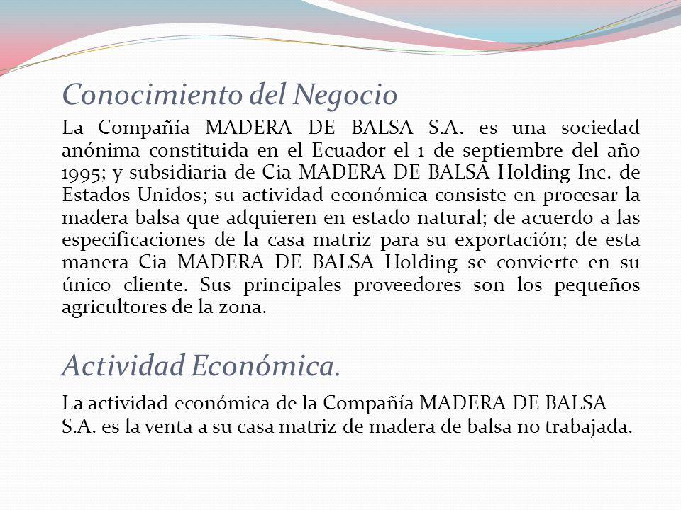 Conocimiento del Negocio La Compañía MADERA DE BALSA S.A. es una sociedad anónima constituida en el Ecuador el 1 de septiembre del año 1995; y subsidi