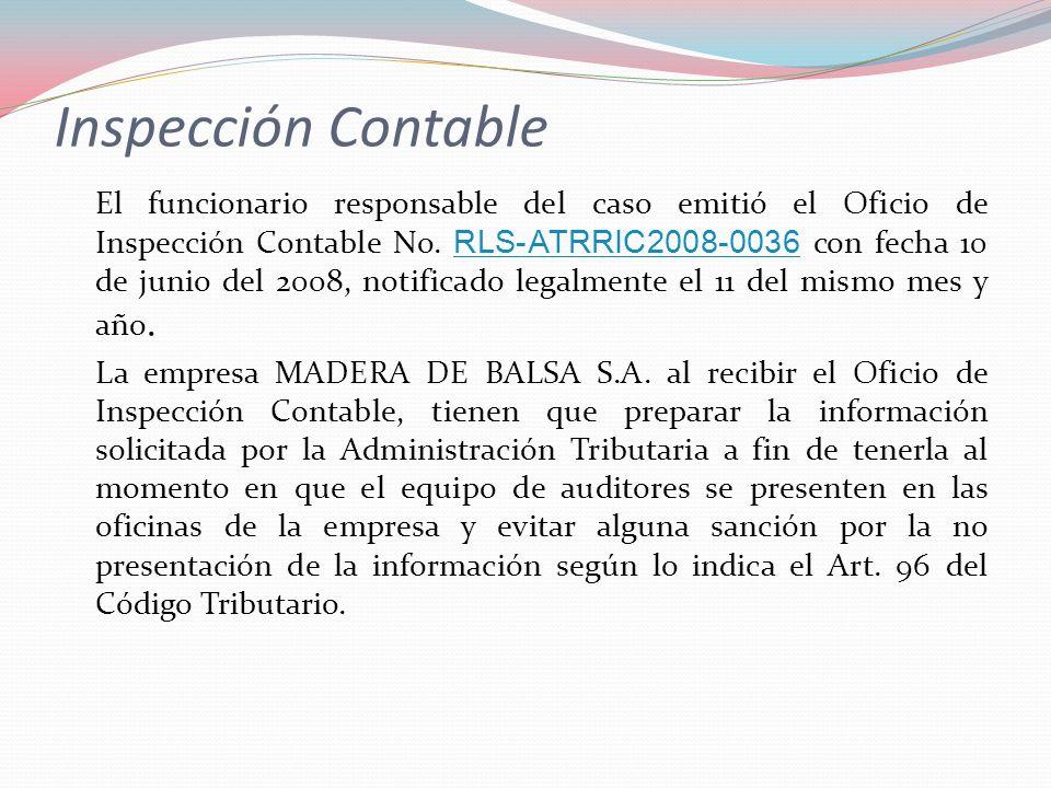 Inspección Contable El funcionario responsable del caso emitió el Oficio de Inspección Contable No. RLS-ATRRIC2008-0036 con fecha 10 de junio del 2008