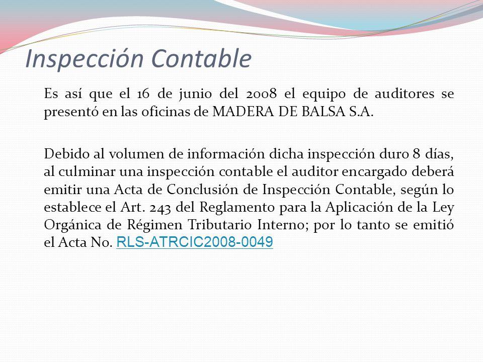 Inspección Contable Es así que el 16 de junio del 2008 el equipo de auditores se presentó en las oficinas de MADERA DE BALSA S.A. Debido al volumen de