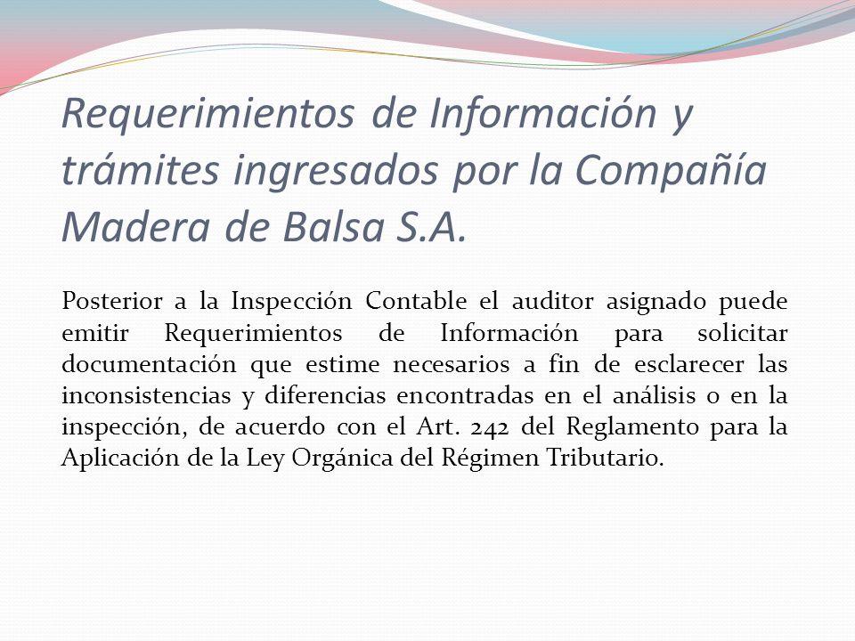 Requerimientos de Información y trámites ingresados por la Compañía Madera de Balsa S.A. Posterior a la Inspección Contable el auditor asignado puede