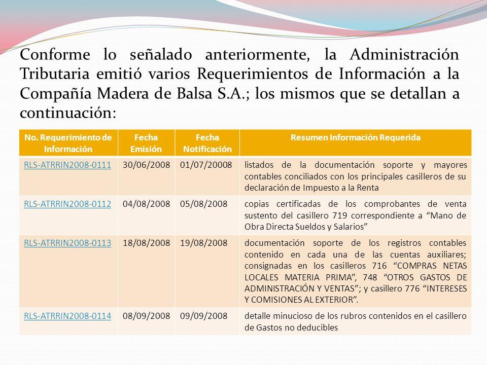 Conforme lo señalado anteriormente, la Administración Tributaria emitió varios Requerimientos de Información a la Compañía Madera de Balsa S.A.; los m
