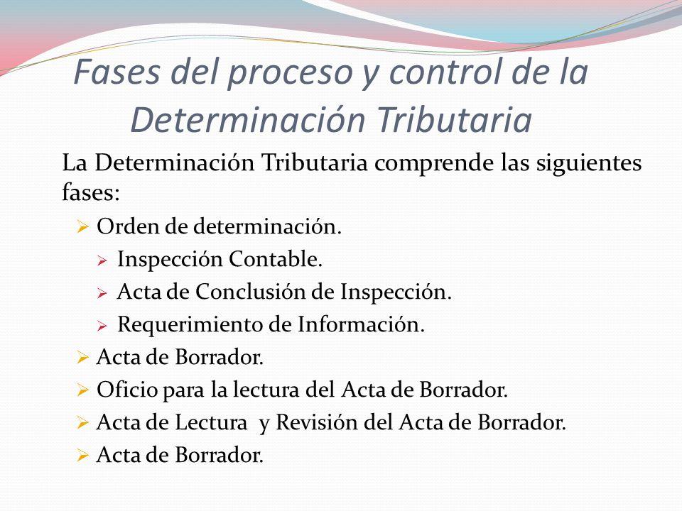 Fases del proceso y control de la Determinación Tributaria La Determinación Tributaria comprende las siguientes fases: Orden de determinación. Inspecc