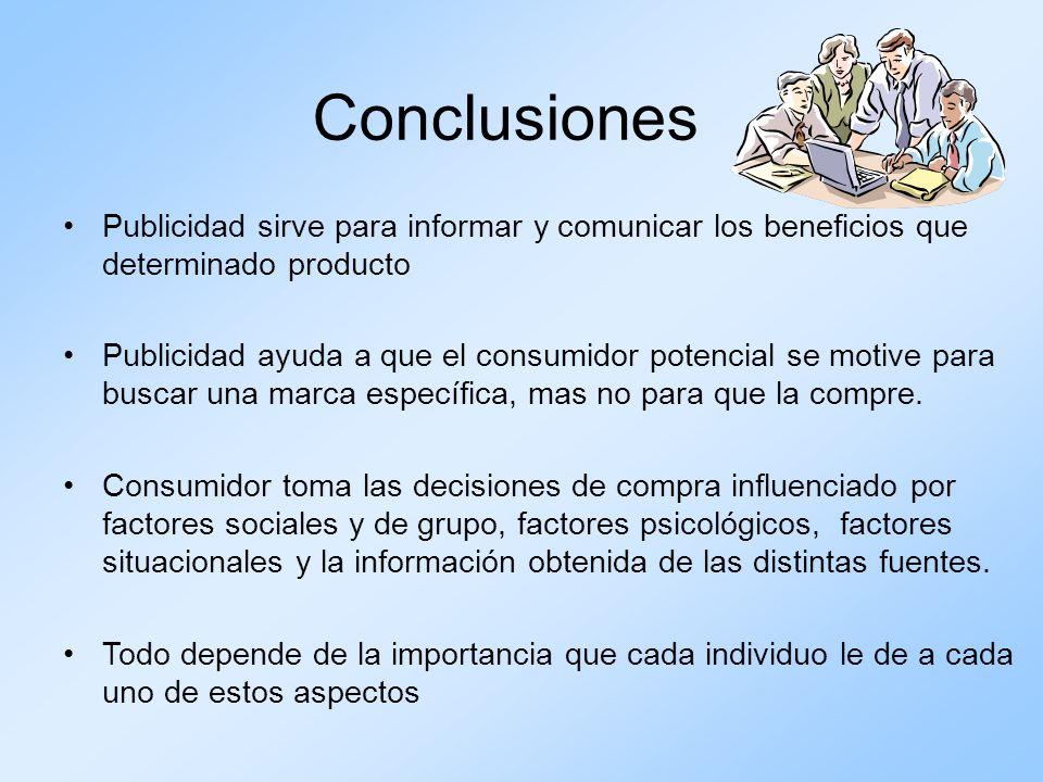 Conclusiones Publicidad sirve para informar y comunicar los beneficios que determinado producto Publicidad ayuda a que el consumidor potencial se moti