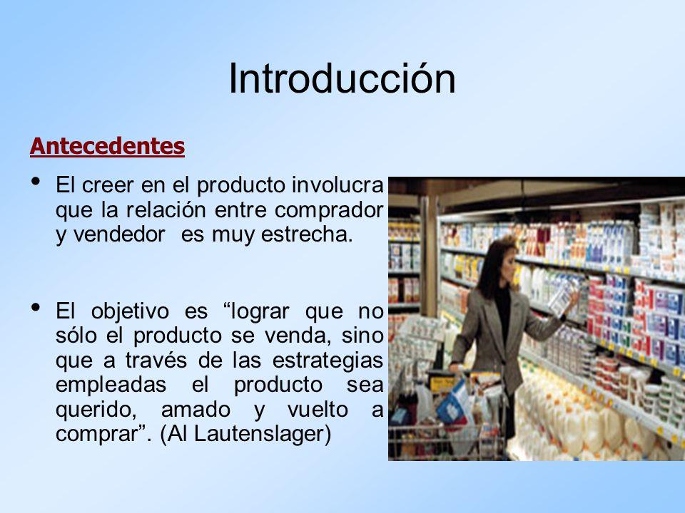 Introducción Antecedentes El creer en el producto involucra que la relación entre comprador y vendedor es muy estrecha. El objetivo es lograr que no s