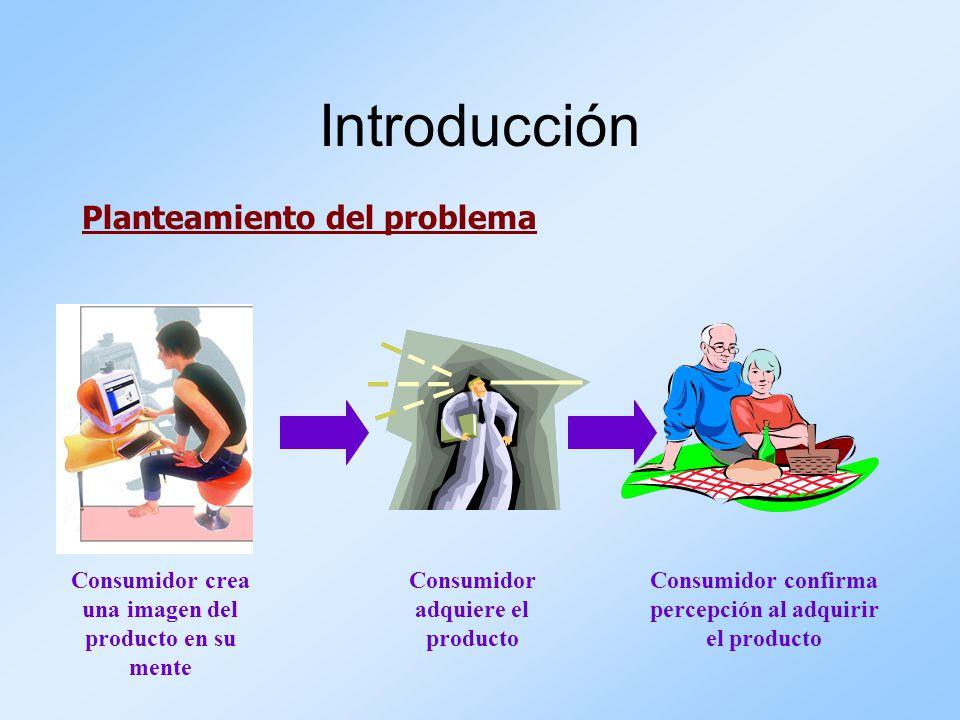 Planteamiento del problema Introducción Consumidor crea una imagen del producto en su mente Consumidor adquiere el producto Consumidor confirma percep