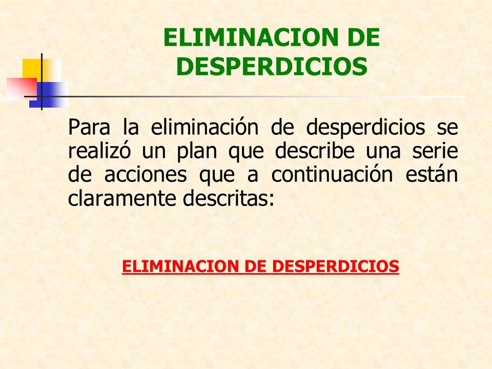Para la eliminación de desperdicios se realizó un plan que describe una serie de acciones que a continuación están claramente descritas: ELIMINACION D