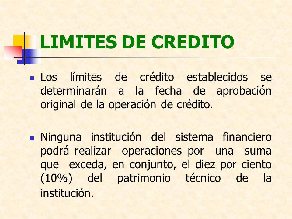 LIMITES DE CREDITO Los límites de crédito establecidos se determinarán a la fecha de aprobación original de la operación de crédito. Ninguna instituci