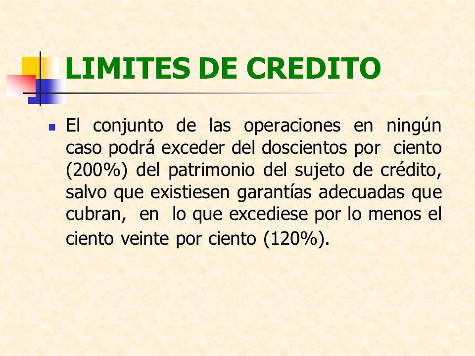 LIMITES DE CREDITO El conjunto de las operaciones en ningún caso podrá exceder del doscientos por ciento (200%) del patrimonio del sujeto de crédito,