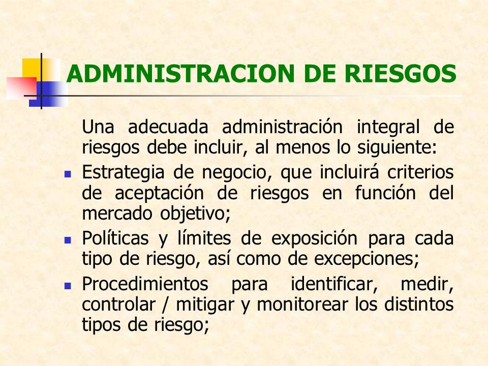 ADMINISTRACION DE RIESGOS Una adecuada administración integral de riesgos debe incluir, al menos lo siguiente: Estrategia de negocio, que incluirá cri