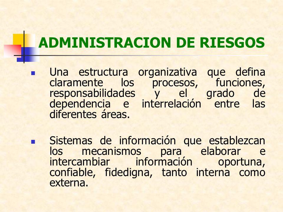 ADMINISTRACION DE RIESGOS Una estructura organizativa que defina claramente los procesos, funciones, responsabilidades y el grado de dependencia e int