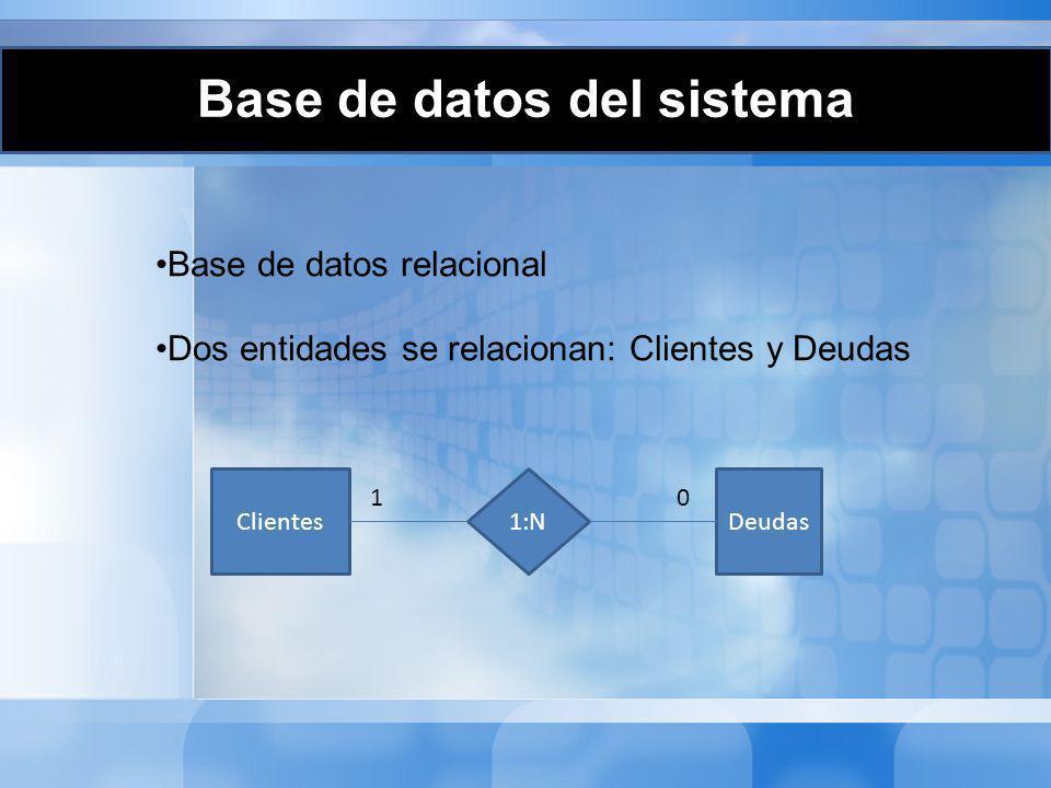 Base de datos relacional Dos entidades se relacionan: Clientes y Deudas ClientesDeudas1:N 10 Base de datos del sistema