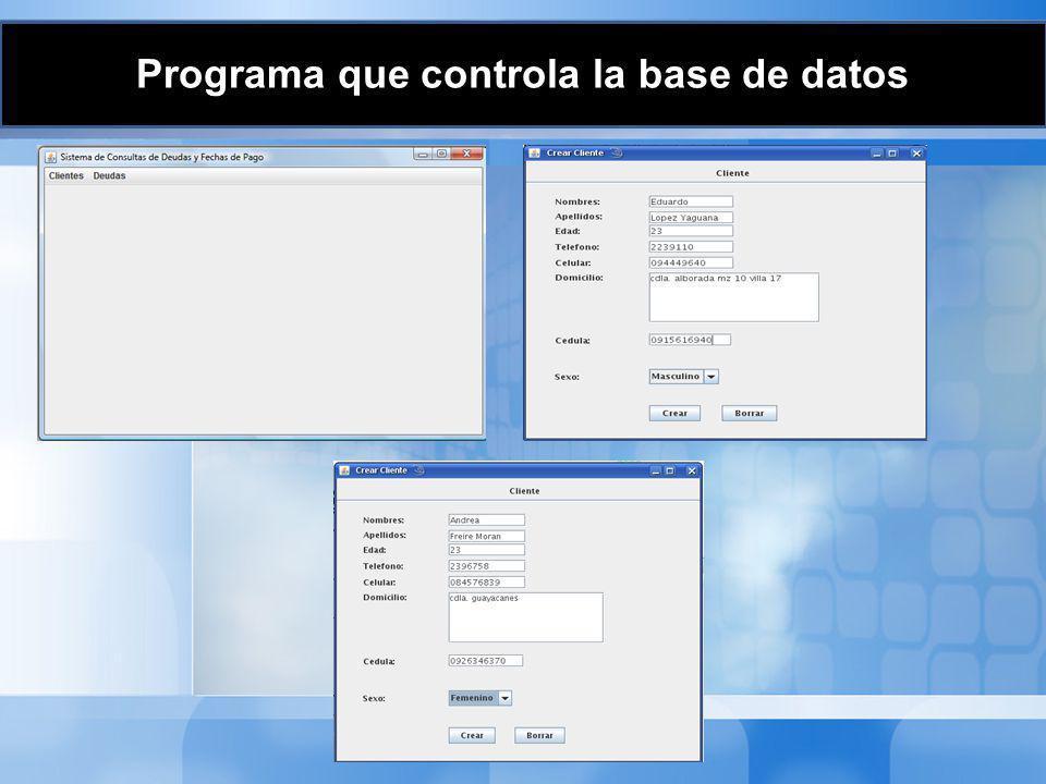 Programa que controla la base de datos