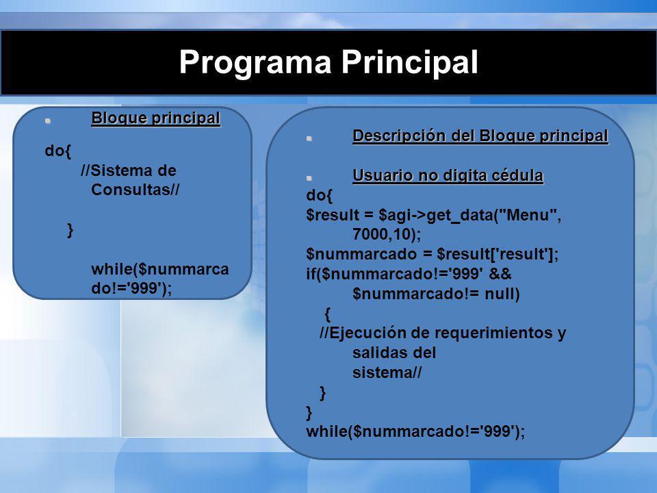 Programa Principal Bloque principal Bloque principal do{ //Sistema de Consultas// } while($nummarca do!='999'); Descripción del Bloque principal Descr