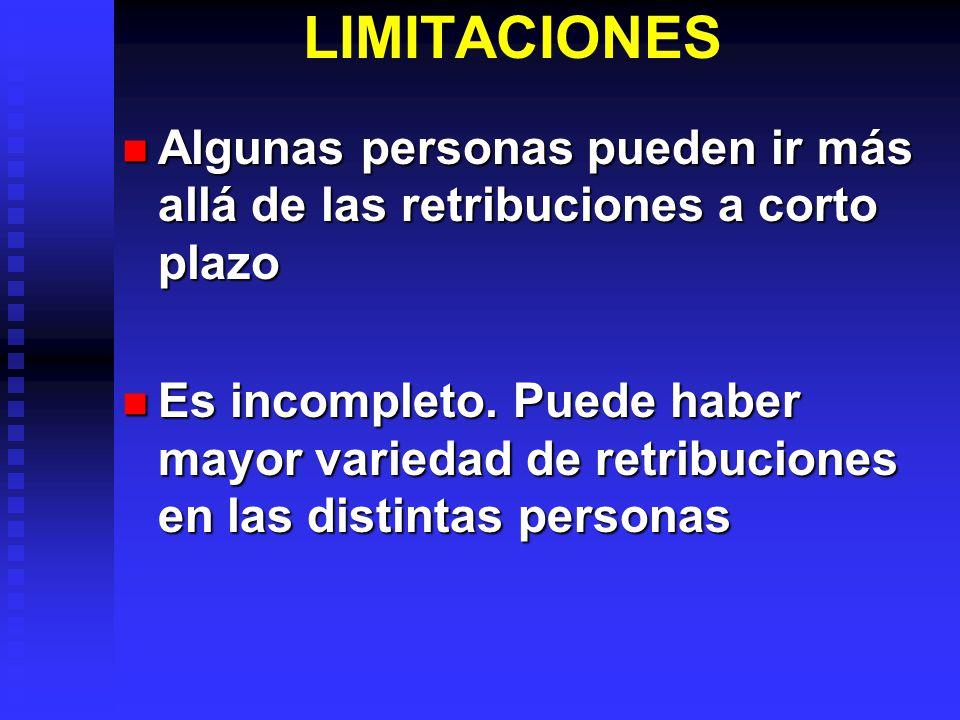 LIMITACIONES Algunas personas pueden ir más allá de las retribuciones a corto plazo Algunas personas pueden ir más allá de las retribuciones a corto plazo Es incompleto.
