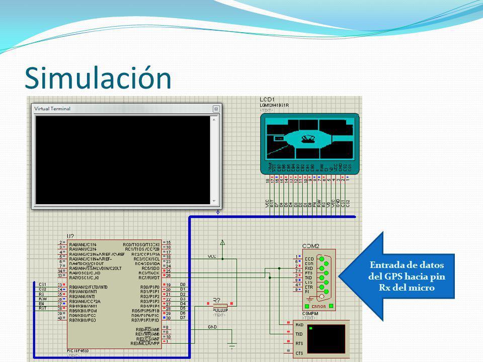 Simulación Entrada de datos del GPS hacia pin Rx del micro