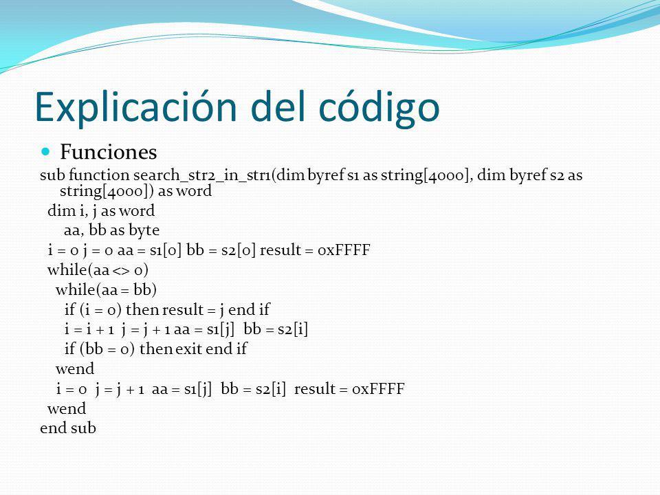 Explicación del código Funciones sub function search_str2_in_str1(dim byref s1 as string[4000], dim byref s2 as string[4000]) as word dim i, j as word