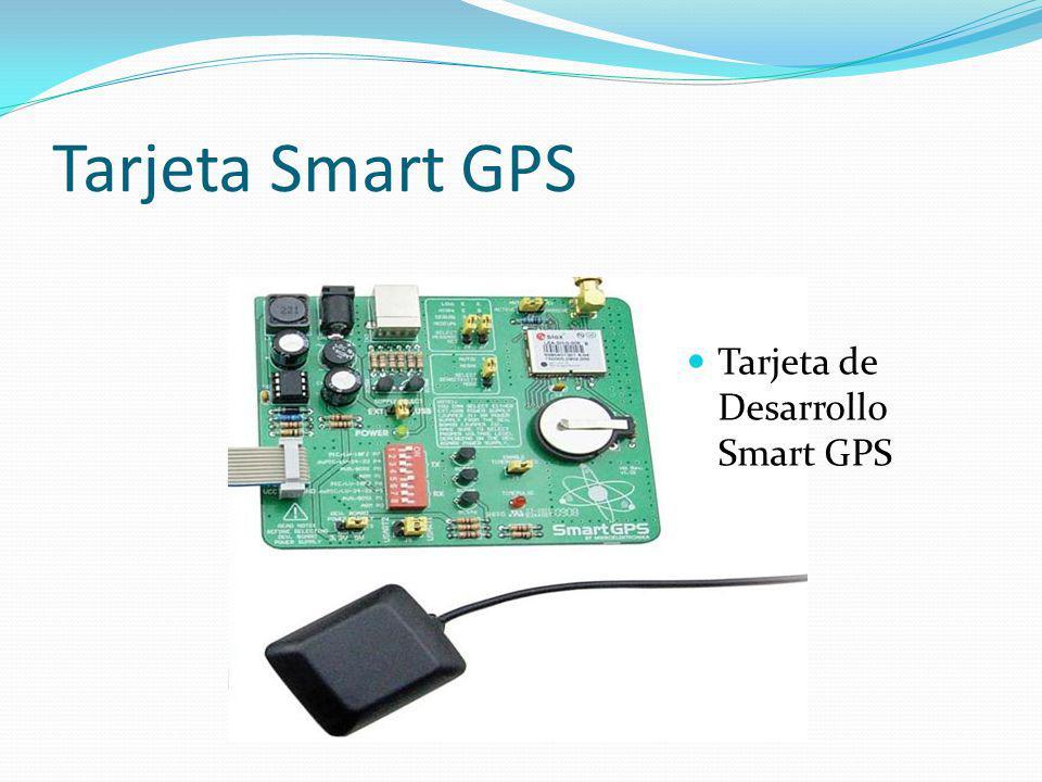 Características principales Amplio rango de alimentación (7 – 25Vdc) Comunicación UART y USB (no requiere alimentación externa) Batería de respaldo para inicio rápido Supervisor de antena externa o interna Facilidad de conexión con otros dispositivos Tarjeta Smart GPS