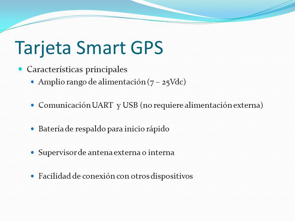Características principales Amplio rango de alimentación (7 – 25Vdc) Comunicación UART y USB (no requiere alimentación externa) Batería de respaldo pa