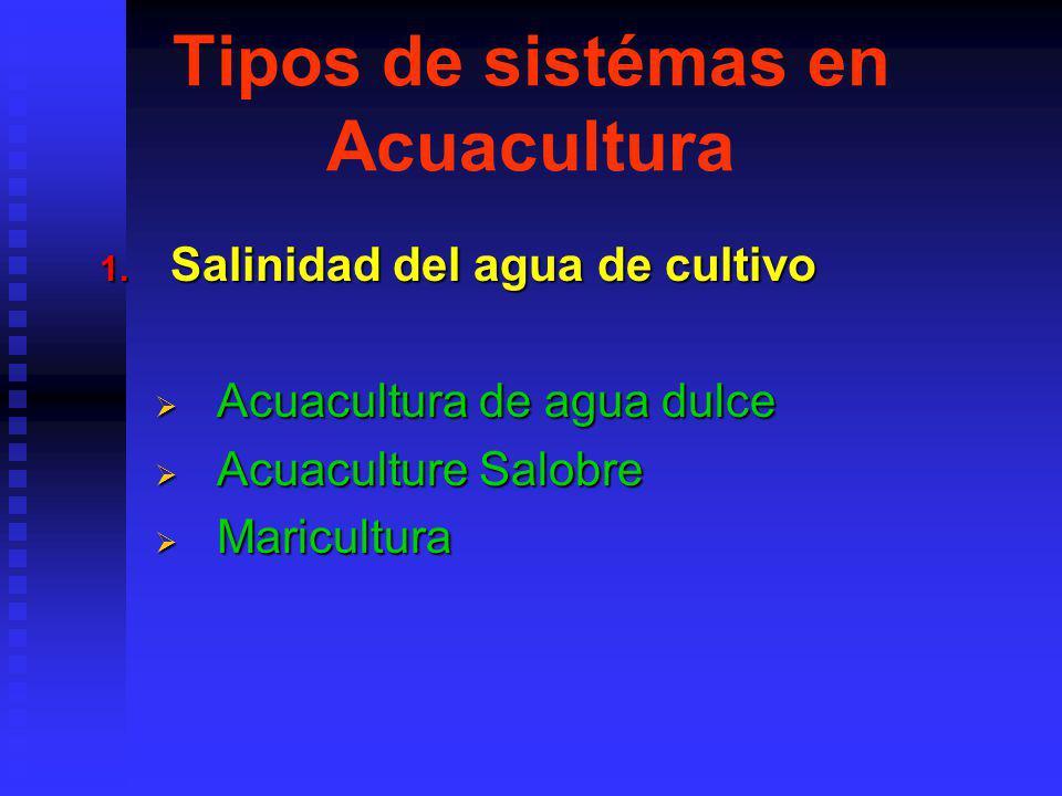 Tipos de sistémas en Acuacultura 1.