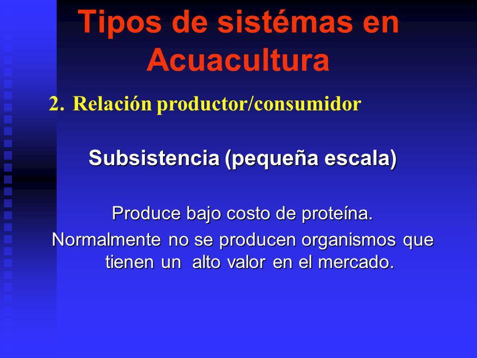 Tipos de sistémas en Acuacultura Subsistencia (pequeña escala) Produce bajo costo de proteína.