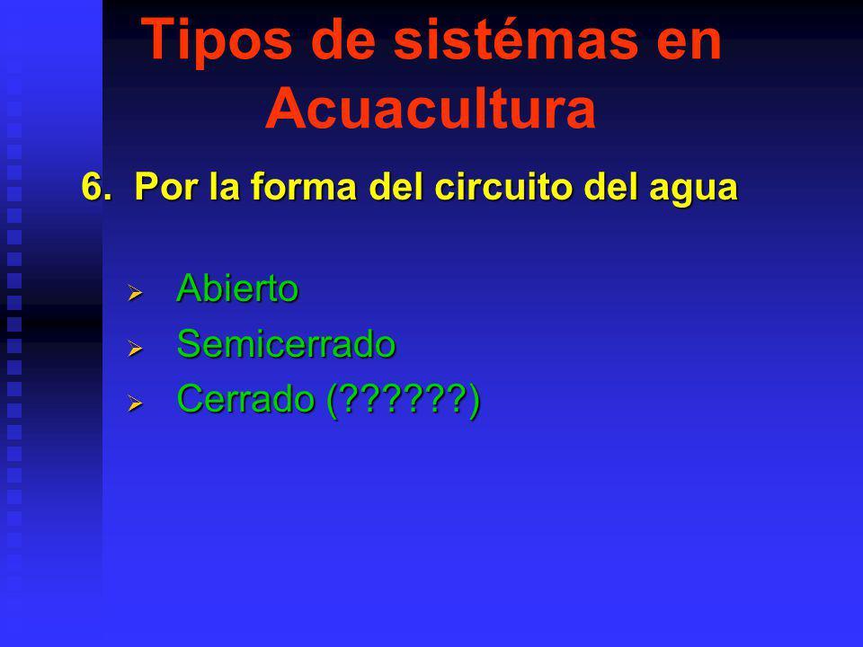 Tipos de sistémas en Acuacultura 6.