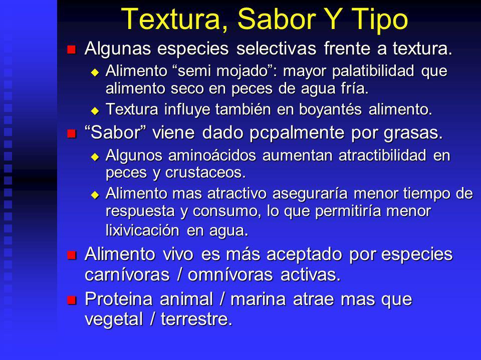 Textura, Sabor Y Tipo Algunas especies selectivas frente a textura.