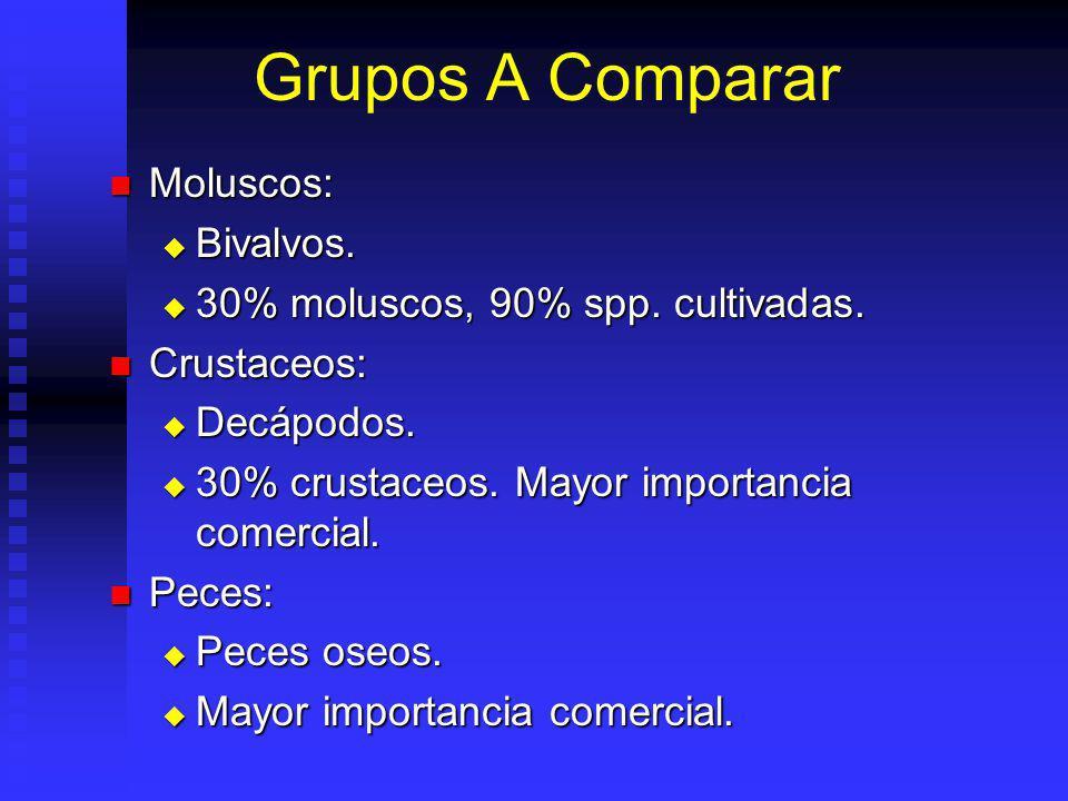 Grupos A Comparar Moluscos: Moluscos: Bivalvos.Bivalvos.