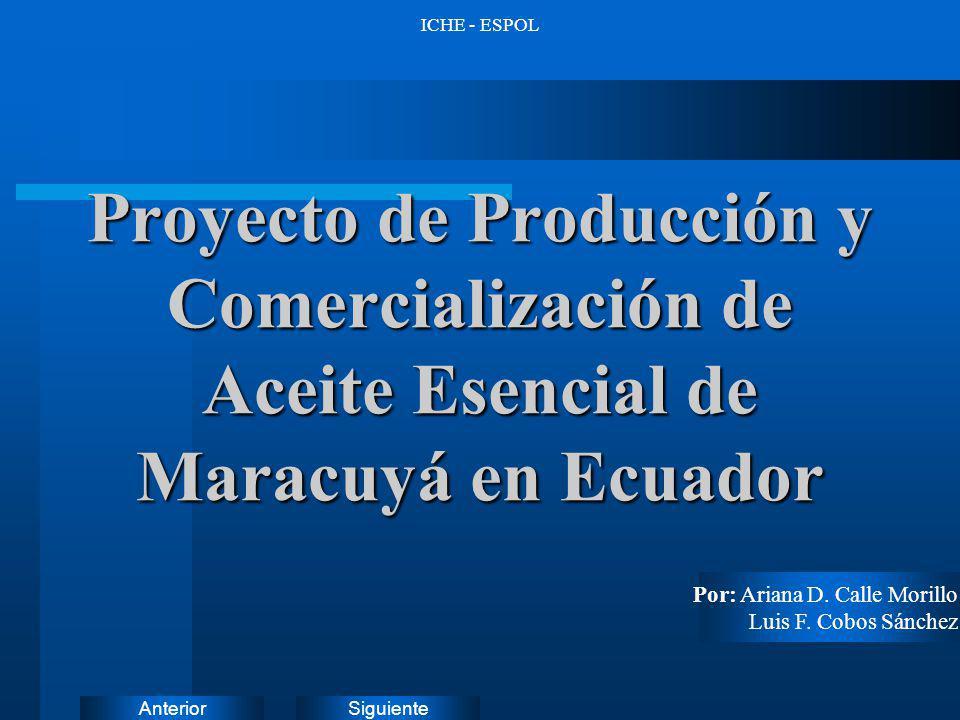 SiguienteAnterior ICHE - ESPOL Proyecto de Producción y Comercialización de Aceite Esencial de Maracuyá en Ecuador Por: Ariana D. Calle Morillo Luis F