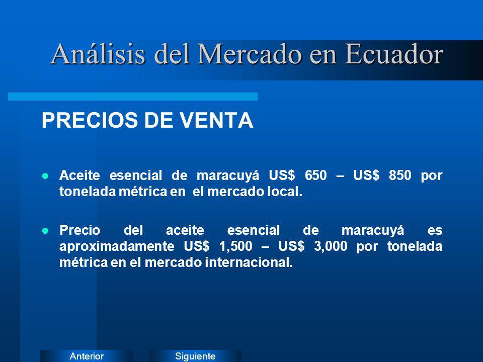 SiguienteAnterior PRECIOS DE VENTA Aceite esencial de maracuyá US$ 650 – US$ 850 por tonelada métrica en el mercado local. Precio del aceite esencial