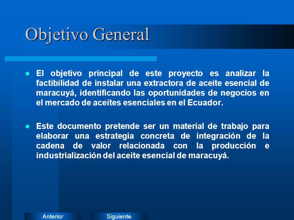 SiguienteAnterior Objetivo General El objetivo principal de este proyecto es analizar la factibilidad de instalar una extractora de aceite esencial de