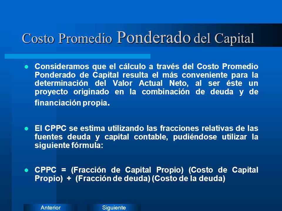 SiguienteAnterior Costo Promedio Ponderado del Capital Consideramos que el cálculo a través del Costo Promedio Ponderado de Capital resulta el más con