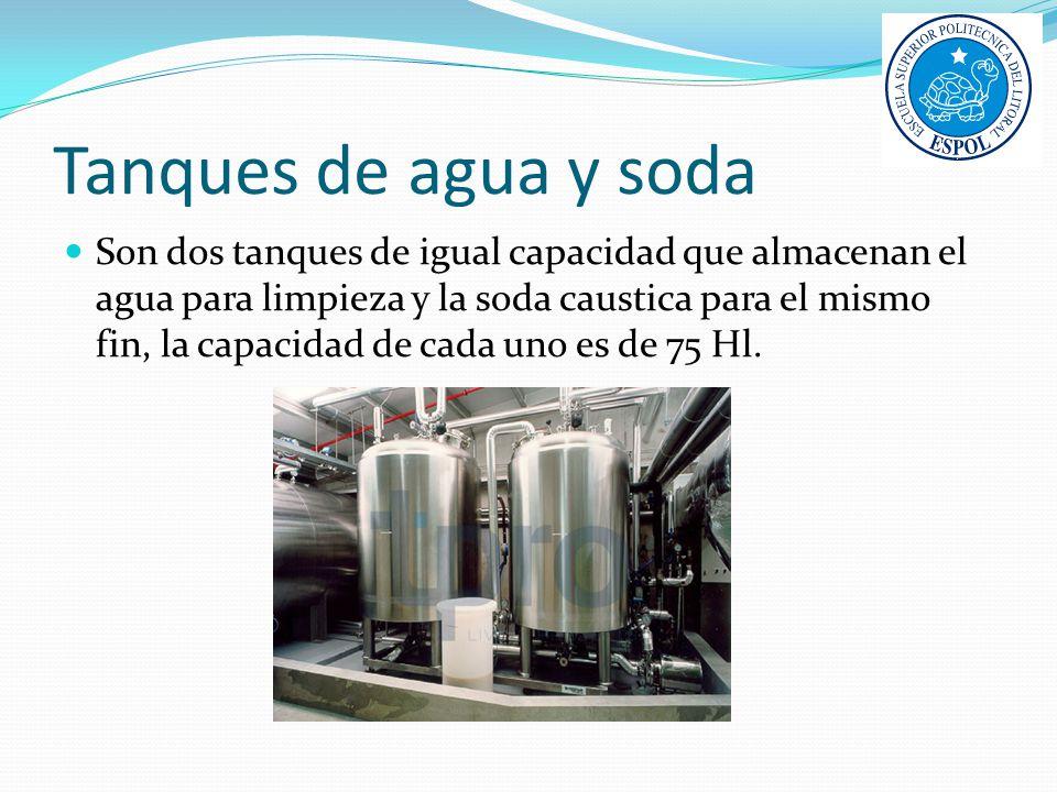Tanques de agua y soda Son dos tanques de igual capacidad que almacenan el agua para limpieza y la soda caustica para el mismo fin, la capacidad de ca