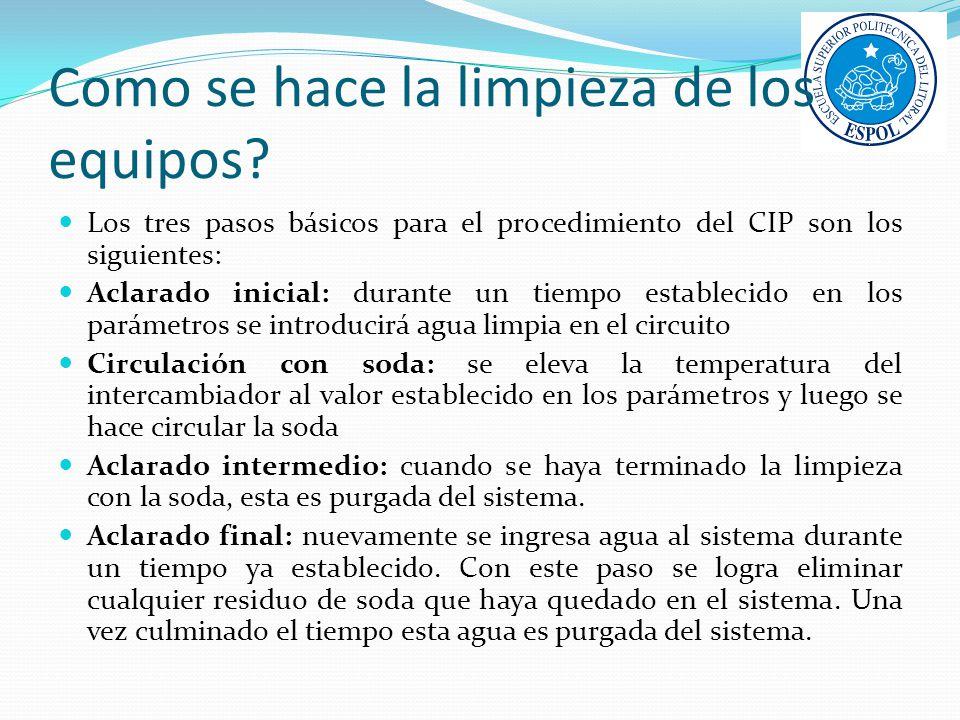 Como se hace la limpieza de los equipos? Los tres pasos básicos para el procedimiento del CIP son los siguientes: Aclarado inicial: durante un tiempo