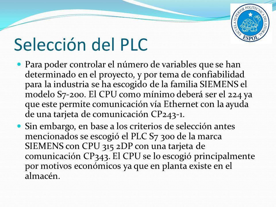 Selección del PLC Para poder controlar el número de variables que se han determinado en el proyecto, y por tema de confiabilidad para la industria se