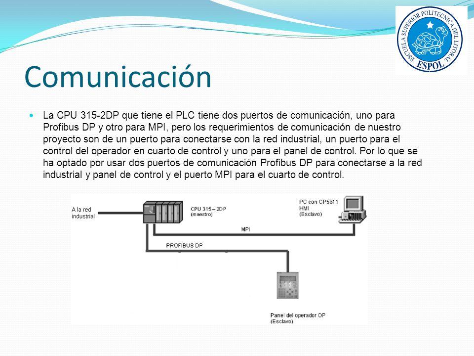 Comunicación La CPU 315-2DP que tiene el PLC tiene dos puertos de comunicación, uno para Profibus DP y otro para MPI, pero los requerimientos de comun
