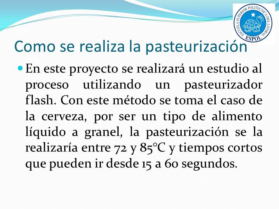 Como se realiza la pasteurización En este proyecto se realizará un estudio al proceso utilizando un pasteurizador flash. Con este método se toma el ca