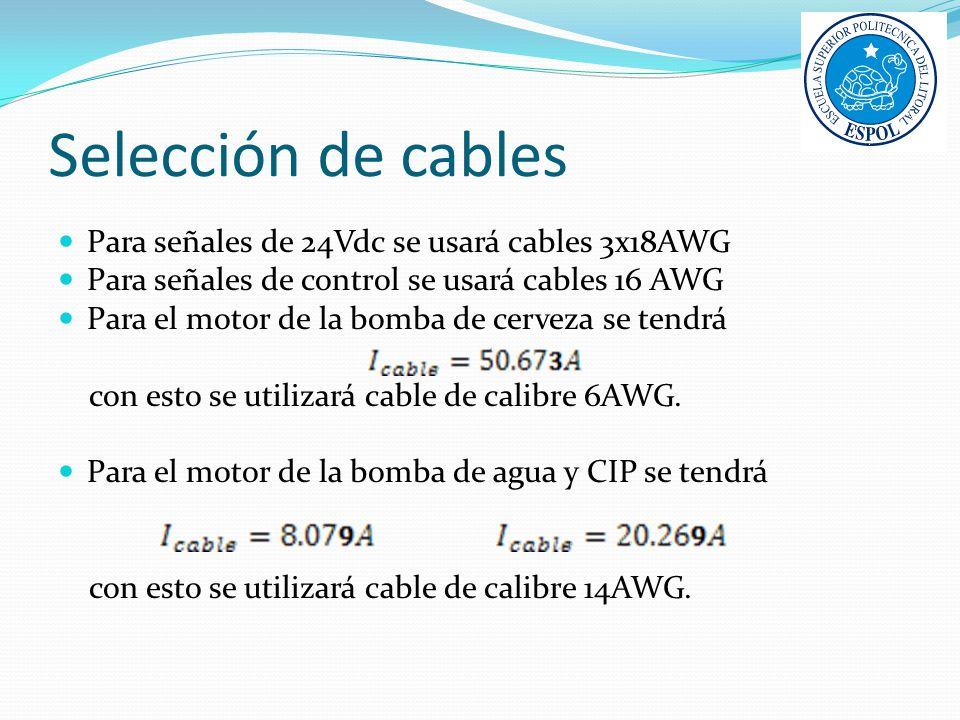 Selección de cables Para señales de 24Vdc se usará cables 3x18AWG Para señales de control se usará cables 16 AWG Para el motor de la bomba de cerveza