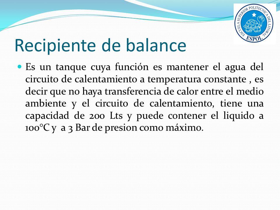 Recipiente de balance Es un tanque cuya función es mantener el agua del circuito de calentamiento a temperatura constante, es decir que no haya transf