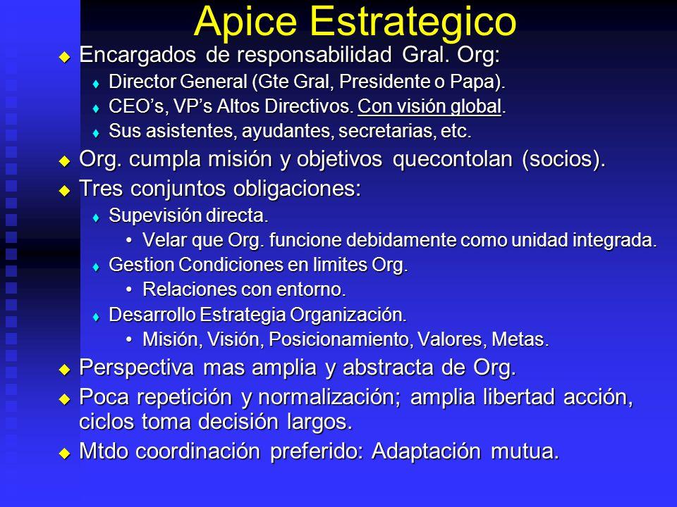 Apice Estrategico Encargados de responsabilidad Gral. Org: Encargados de responsabilidad Gral. Org: Director General (Gte Gral, Presidente o Papa). Di